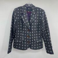 Boden Womens 16 Suit Jacket Blazer Gray Wool Polka Dot Pockets Button Cuffs