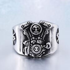 【from USA】Stainless Steel Ring Rocker Biker Motorcycles Skull Engine Size 9