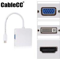 Thunderbolt Mini DP Displayport to VGA HDMI DVI Adapter 3 in1 for Apple MacBook