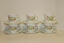 6 Vintage Corelle Strawberry Sundae Cup & Saucer Sets Strawberries