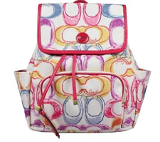 """Coach Poppy signature piece Multicolor-Sateen Backpack 13""""Lx5""""W x14""""h"""