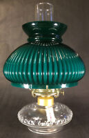 New Complete Clear Glass Oil Lamp With Cased Green Ribbed Shade, Chimney, Burner