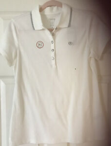 Izod XFG Womens S/S Golf Button Polo Shirt Size M White /Silver SPF15 Retail $60