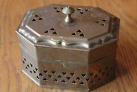 Vintage Brass Hinged Trinket Potpourri Incense holder Box Heart Cut Out Chest