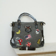XXL Vintage Blogger Italy Handtasche Shopper Canvas Patches Grau