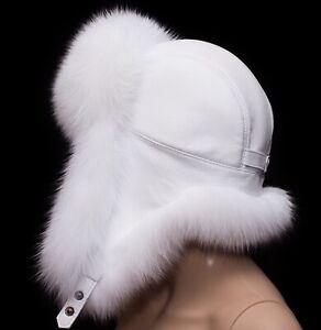 Arctic Shadow White Fox Fur Frost White Leather Handmade Men Trapper Aviator Hat