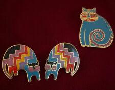 Beautiful Vtg  Laurel Burch Aztec Cat Set &  Array Of Color  Earrings & Pendent