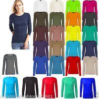 Ladies Long Sleeve Basic Plain Round Neck Women Stretch Vest Top T Shirt UK 8-26