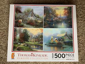 Thomas Kinkade Classic Collection 4 Puzzle 500 Piece Lakeside Manor Cottage 3641