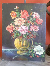 Superbe ancien tableau peinture bouquet fleur sans cadre 1920 déco charme signé
