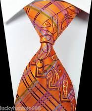 New Paisleys Stripes Orange Purple JACQUARD WOVEN 100% Silk Men's Tie Necktie