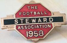 THE FOOTBALL ASSOCIATION 1958 STEWARD Badge Brooch pin In gilt 38mm x 26mm