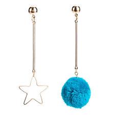 Women Unique Soft Fur Ball PomPom Long Earrings Ear Stud Pentagram Drop Dangle