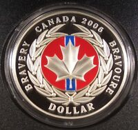 2006 CANADA $1 MEDAL OF BRAVERY PROOF SILVER DOLLAR WITH ENAMEL EFFECT BOX/COA
