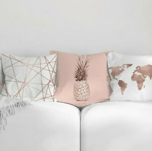 Rose Gold Cushion Covers Pink Grey Pillow Geometric Decor Home Sofa Marble Case