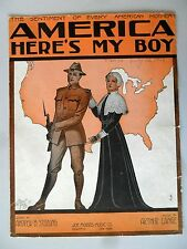 America Here's My Boy Lange Sterling WWI 1917 Sheet Music Soldier to War