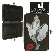 Marilyn Monroe Hinged Kiss Lock Wallet with White Dress and Red Lips, Black