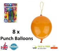 8 x Coloured Latex PUNCH BALLOONS Party Balloon Bag Filler Kids Gift Toy UK