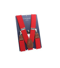 Club Room Men'S Solid Elastic Stretch Metal Clip-On End Suspenders, Red, One Siz