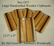 Box Of 5 Large Handcrafted Multi-Wooden Clipboard Has Low Profile clip USA.