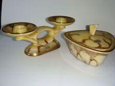 Jasba Keramik, Vintage 2er Kerzenhalter und Deckeldose in Dreiecksform, 50-60er