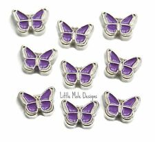 Purple Butterfly Floating Charm For Living Memory Locket Necklace Pendant Charms