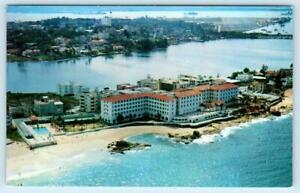 SAN JUAN, PUERTO RICO Aerial View CONDADO BEACH HOTEL ca 1960s-70s Postcard