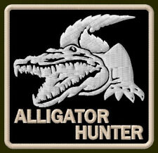 "ALLIGATOR HUNTER EMBROIDERED PATCH ~3""x 3"" BORDADO PARCHE AUFNÄHER GATOR HUNTING"
