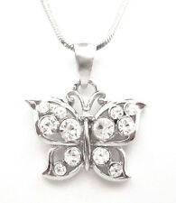 CRYSTAL BUTTERFLY PENDANT CHARM NECKLACE SILVER TONE CLEAR