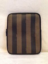 """NEW FENDI Pequin Striped iPad Tablet Zippered Case Sleeve Pouch, 8.25"""" X 10.25"""""""