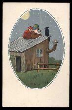 CART.D'EPOCA-illustratore C.GIRIS-BAMBINI,LUNA,NOTTE 1