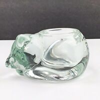 Vtg Indiana Glass Clear SLEEPING CAT Kitten Tea Votive Candle Holder Paperweight