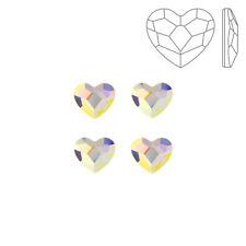 Swarovski Crystal Hotfix 2808 Flatback Heart Crystal AB 6mm Pack of 4 (K72/1)