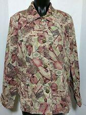 Christopher & Banks Womens Size XL Stretch Rose Travel Paris Effiel Tower Jacket