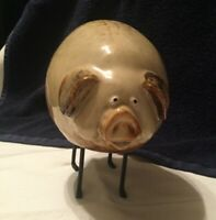 """Hand Made Art Project Pottery Pig 6"""" x 6.5"""" Glaze, ears, nose, tail too CUTE"""