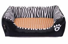 Zebra Stripes Rectangle Pet Beds with Mat for Small Medium Sized Dogs Cats