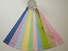 """Pretty Rainbow Colors Blender Jelly Roll Cotton Fabric 20 pieces 2-1/2"""" Strips"""