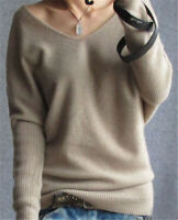 New Ladies Cashmere V-Neck Sweater Loose Large Size Wool Blend Sweater Pullover