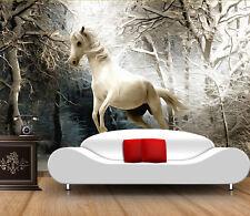 3D Wald Weiß Pferd 19 Fototapeten Wandbild Fototapete Bild Tapete Familie Kinder