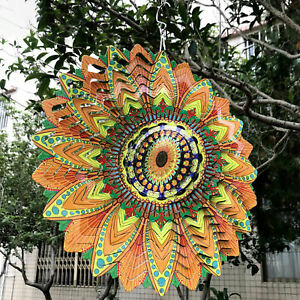 3D Wind Spinner Multicolor Large Wind Chimes Hollow Out Crafts Outdoor Yard