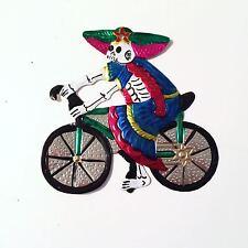 Oaxacan Tin Catrina on a Bicycle
