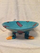 """Signed Artist Cody 12"""" Wide Turquoise Ceramic Pottery Handmade FOOTED BOWL"""