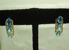 14K SOLID YELLOW GOLD BLUE TOPAZ DANGLE PIERCED EARRINGS N39-D