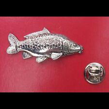English Pewter Mirror Carp Fish Pin Badge Tie Pin / Lapel Badge (XTSBPF36)