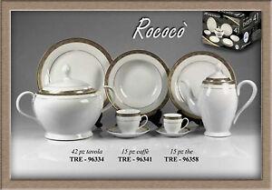 Set servito da caffè porcellana decoro oro composto da 15 pezzi Rococò