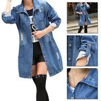 Blue Fashion Casual Loose Long Sleeve Denim Jacket Jeans Coat Outwear Parka US