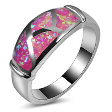 Pink Fire Opal Ring Silver Gold Filled Engagement Wedding Ring Size 7 A167