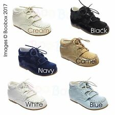 Baby Boys& Boys Spanish Faux Suede Patent Lace Up Shoes UK Size 2(EU18)-8(EU25)