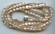 6 - 7MM WHITE FRESHWATER PEARL & TAN LEATHER SINGLE STRAND WRAP CUFF BRACELET