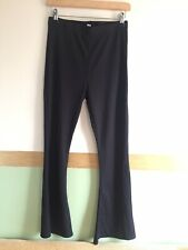 Ladies Black Topshop Petite Flared Ribbed Trousers Leggings Size 12